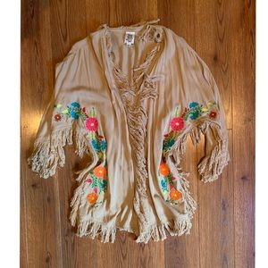 Embroidered Fringe Vest